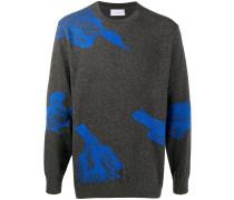 Intarsien-Pullover mit Vögeln