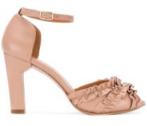 ruffle panel heeled sandals