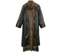 leopard fur trim raincoat