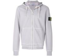 logo patch zipped hoodie
