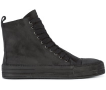layered lace-up hi-top sneakers