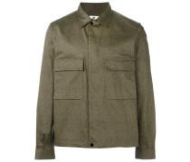 micro print shirt jacket