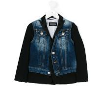 bi-material denim jacket