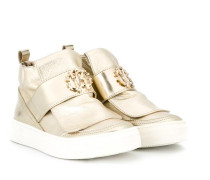 metallic hi-top sneakers