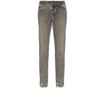 Distressed-Jeans mit Kristallstreifen