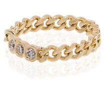 18kt Gelbgoldring im Kettendesign mit Diamanten