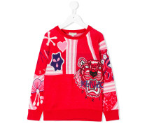 embroidered intarsia sweater