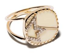 9kt Gelbgoldring mit Diamanten
