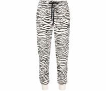 Schmale Jogginghose mit Zebra-Print