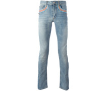 embroidered vintage effect slim straight jeans