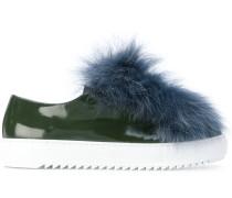 fur trim embellished sneakers