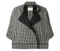 three-quarters sleeve checked jacket - women