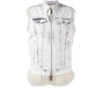sleeveless zipped denim jacket