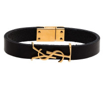 logo-plaque buckled bracelet