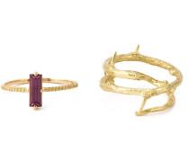 Zwei Goldringe mit Rhodolith