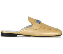 metallic loafer mules