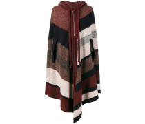 knitted stripe hooded poncho - women