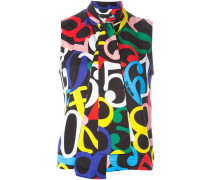 numbers print blouse
