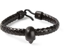 Geflochtenes Armband mit Totenkopf