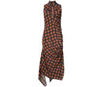 Gerafftes Kleid mit Print