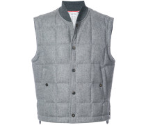 Downfilled Button Front Vest In Jacket Weight Cashmere