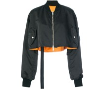 Cropped-Bomberjacke mit Stickerei