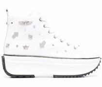 Flatform-Sneakers mit Kristallen