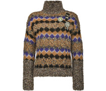 Intarsien-Pullover mit Stehkragen