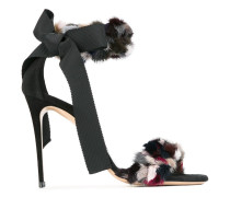 Sandalen mit Kunstpelzbesatz