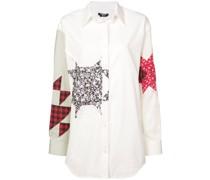 Patchwork-Hemd mit spitzem Kragen