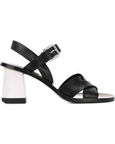 jil sander damen sandalen mit blockabsatz 50 reduziert. Black Bedroom Furniture Sets. Home Design Ideas