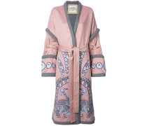 Peacock embroidered wrap coat