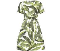 palm leaf print belted dress