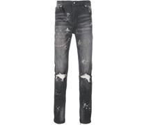 Bestickte Jeans mit schmaler Passform