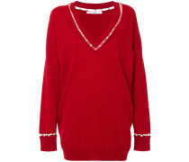 Oversized-Pullover mit Kunstperlen