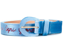 embroidered script belt