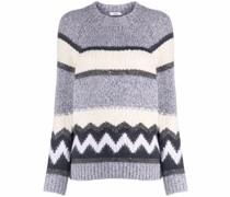Grob gestrickter Intarsien-Pullover