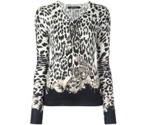 leopard pattern V-neck jumper
