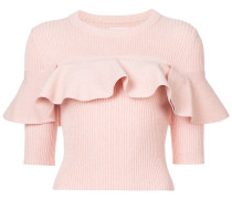 ruffle-trimmed ribbed-knit top