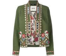 Cropped-Jacke mit Blumenstickerei