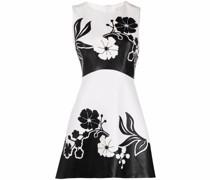 Kleid aus Faux-Leder mit Blumenstickerei
