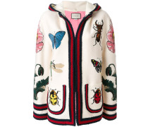 embroidered hooded cardigan