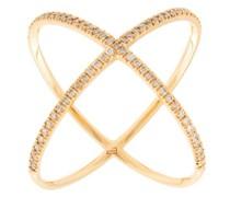 18kt 'X' Rotgoldring mit Diamanten