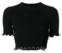 studded trim cropped T-shirt