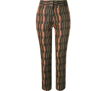 mid-rise printed straight trousers