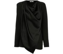 asymmetric draped crepe blouse