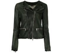 zip up jacket - women - Leder/Nylon/Baumwolle