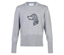 Crewneck Pullover With Hector Embroidery In Fine Merino Wool