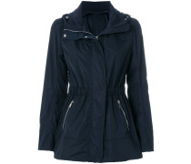fitted waist hooded jacket