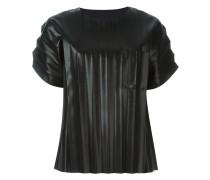 - Plissiertes T-Shirt in Lederoptik - women